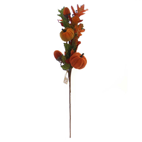 Fall VELVET PUMPKIN SPRAY Fabric Floral Arrangement Acorn 0480106 38780