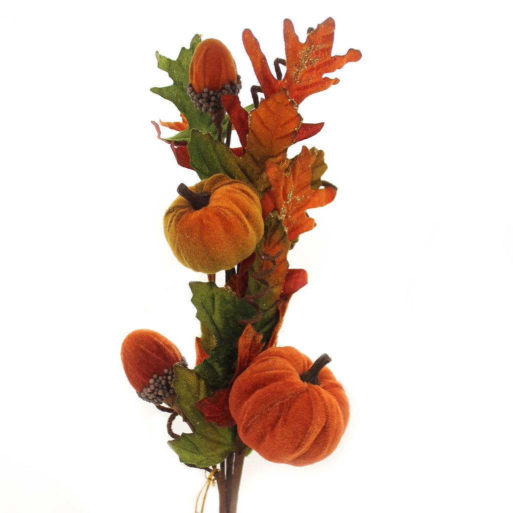 Fall VELVET PUMPKIN SPRAY Fabric Floral Arrangement Acorn 0480106