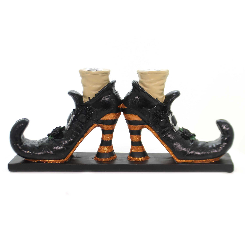 Halloween WITCHES SHOE CANDLE HOLDER Black Curled Toes Glittered 6379768