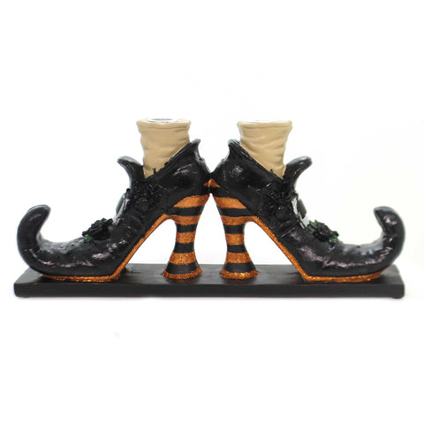 Halloween WITCHES SHOE CANDLE HOLDER Black Curled Toes Glittered 6379768 38781