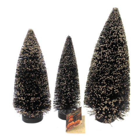 Halloween SPOOKY BOTTLE BRUSH TREES Bottle Brush Gold Glass Glitter St/3 Sn7397 38784