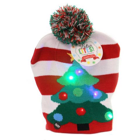 Apparel CHRISTMAS TREE KNITTED HAT Fabric Light Up Christmas Xlthattr 38786