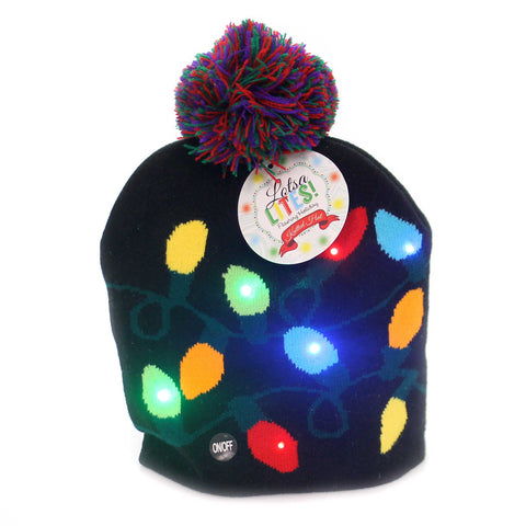 Apparel LIGHT BULB KNITTED HAT Fabric Light Up Flashing Christmas Xlthatbl 38787