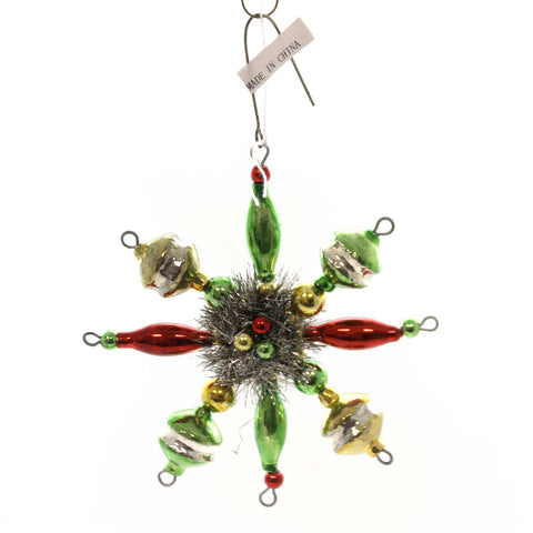 Holiday Ornaments TRADITIONAL STARBURST ORNAMENT Glass Tinsel Beads Sn7509 38829