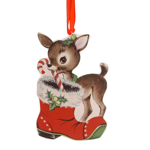 Holiday Ornaments RETRO CHRISTMAS DUMMY BOARD Reindeer Snowman Santa Rl6847 Boot 38830
