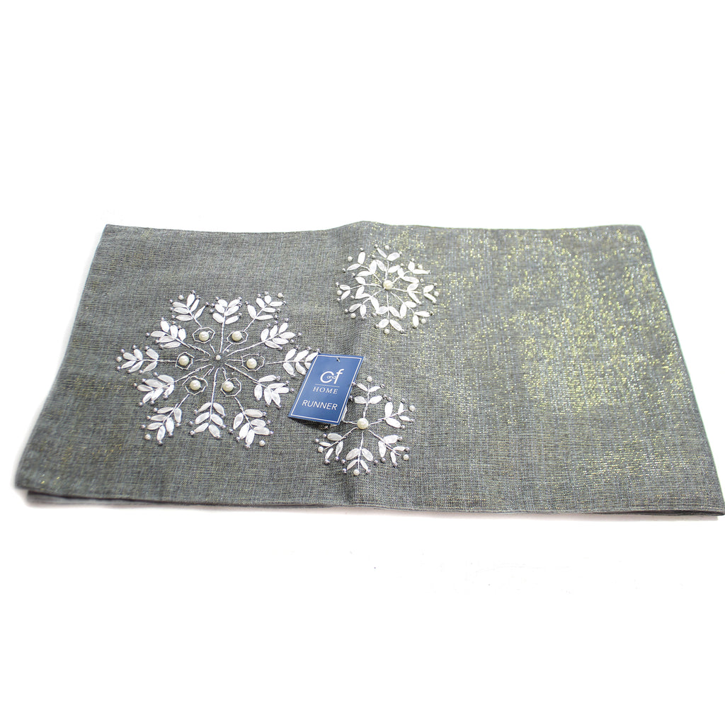Christmas SILVER SNOWFLAKE TABLE RUNNER Fabric Beads Spot Clean 842662387