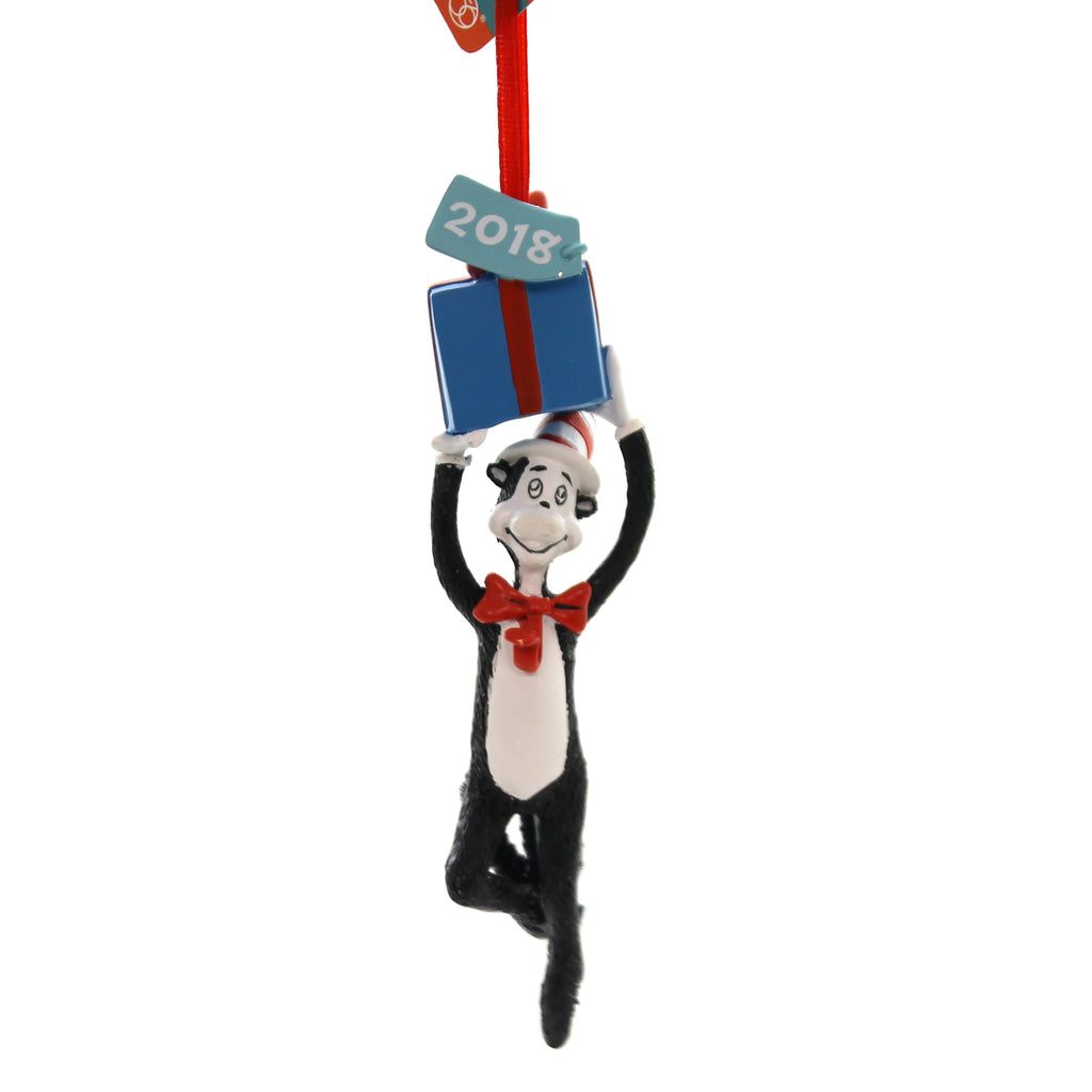 Holiday Ornaments CAT WITH A PRESENT 2018 DATED Polyresin Dr Seuss 6000313