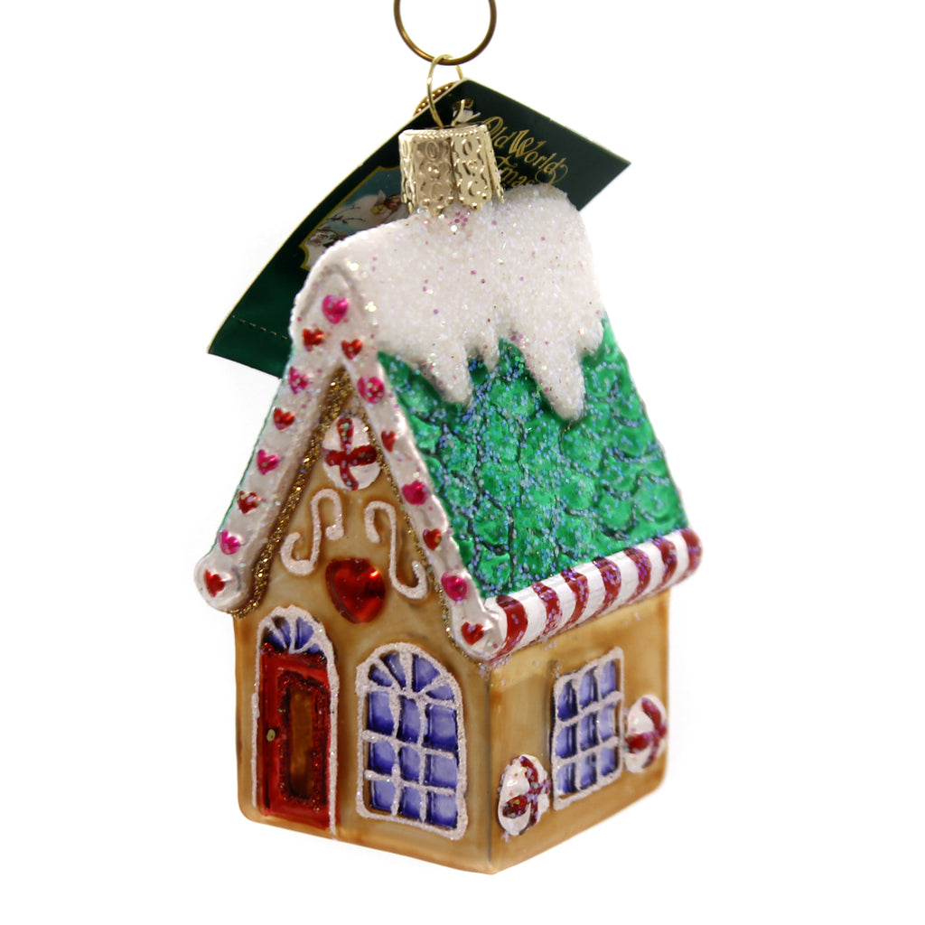 Old World Christmas COOKIE COTTAGE Glass Gingerbread Peppermint Ornament 20064.