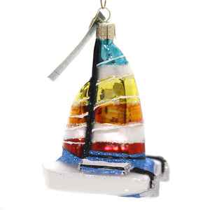 Old World Christmas CATAMARAN Glass Ornament Ocean Sailing 46077