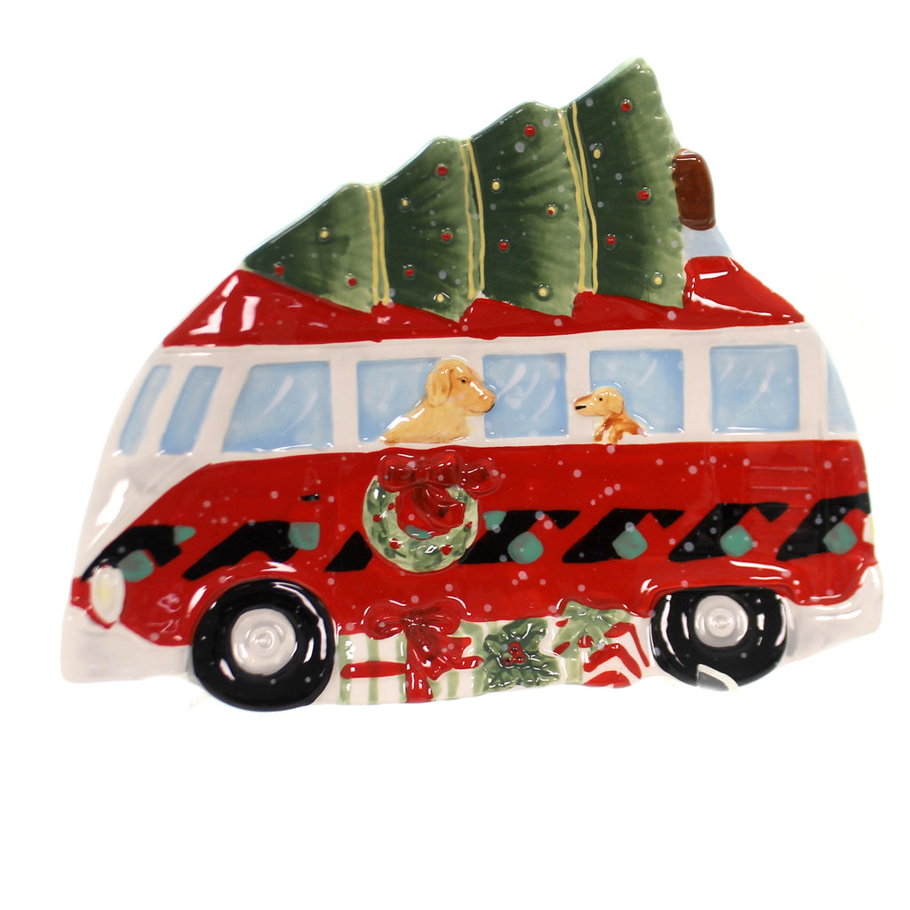 Tabletop HOME FOR CHRISTMAS 3-D TRUCK CANDY PLATE Ceramic Tree Dog 22794