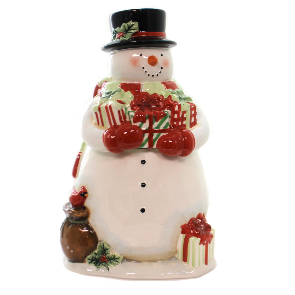 Tabletop STARRY NIGHT SNOWMAN COOKIE JAR Ceramic Susan Winget 22852