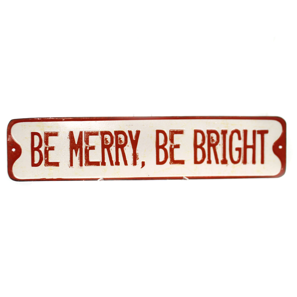 Christmas EMBOSSED HOLIDAY WALL ART Tin Distressed Xm0933a Merry