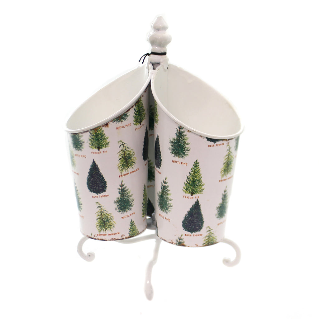 Tabletop ROTATING UTENSIL TIN Metal Trees Fir Spruce Pine Xm2087