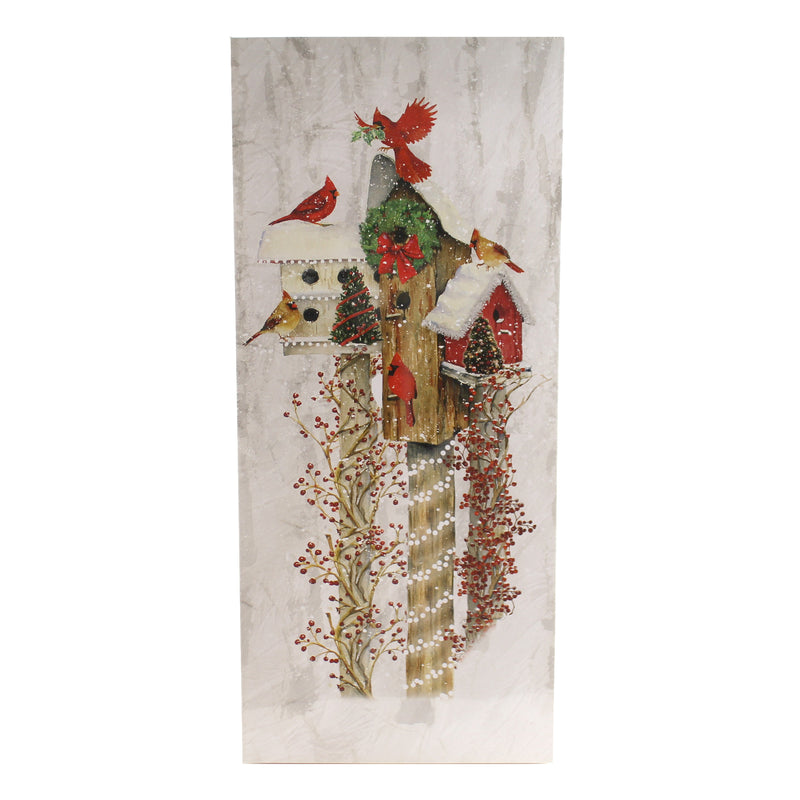 Stony Creek BIRDHOUSE LIGHTED CANVAS Fabric Cardinals Bfn8350 Wreath