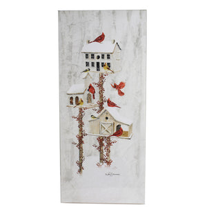 Stony Creek BIRDHOUSE LIGHTED CANVAS Fabric Cardinals Bfn8350 White