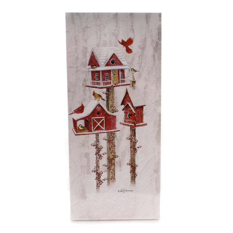Stony Creek BIRDHOUSE LIGHTED CANVAS Fabric Cardinals Bfn8350 Red