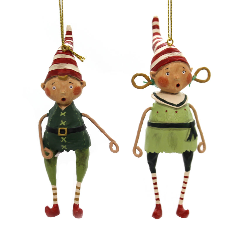 Lori Mitchell TOOTSIE & TINKER ORNAMENTS Polyresin Elf Set 2 11116