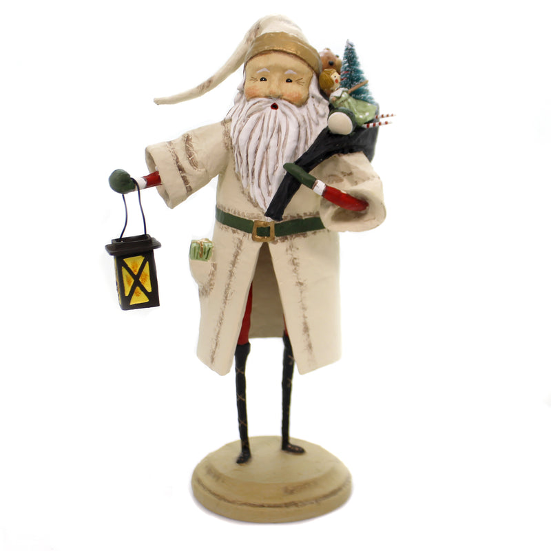 Lori Mitchell OLD FATHER CHRISTMAS IVORY Polyresin Lantern Tree Gifts 11106