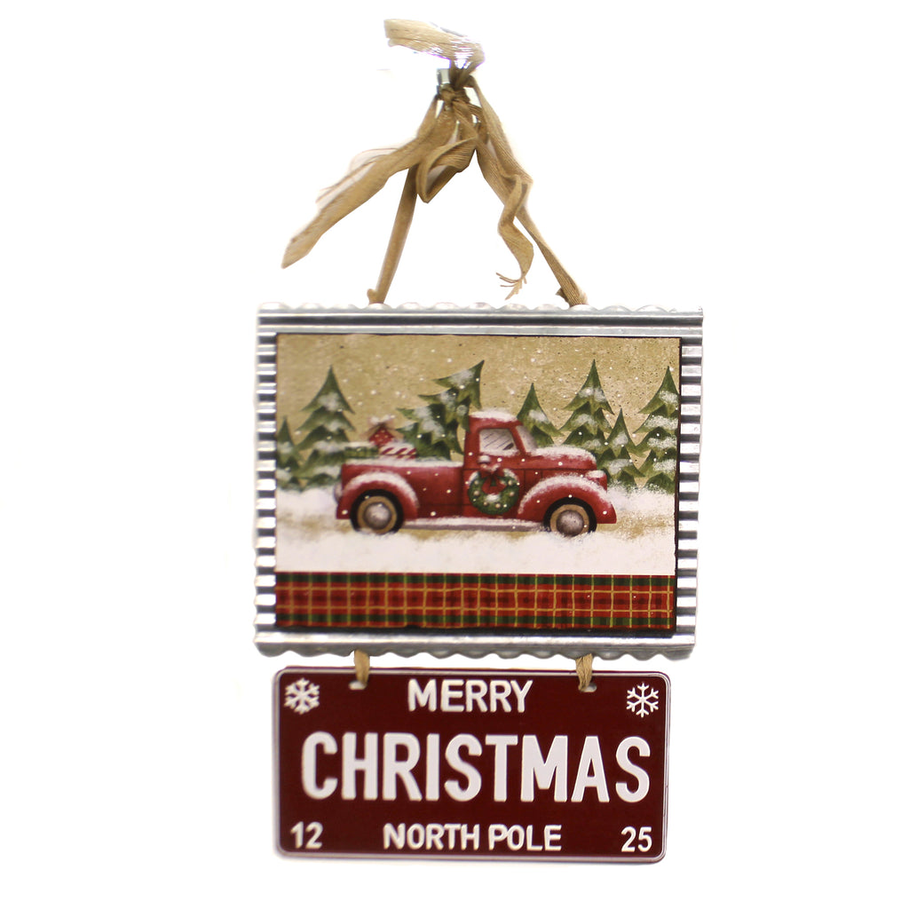 Christmas OLD TIME TRUCK WALL HANGING Metal Merry Christmas 1744273