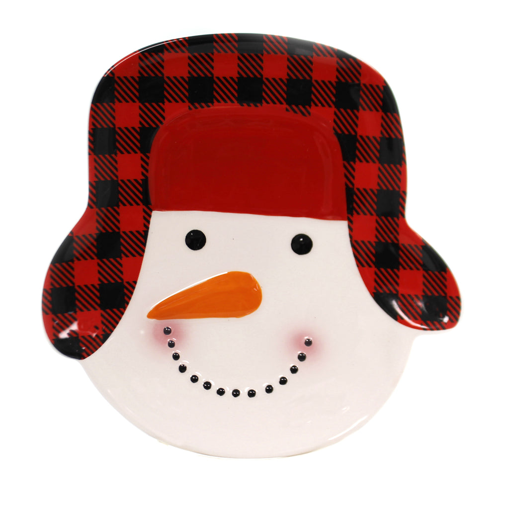 Tabletop SNOWMAN HEAD SHAPED PLATE Ceramic Red Black Check Hat 187197