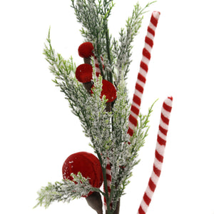 Christmas CANDY CANE SPRAY/PICK Fabric Glitter Berries 9734035