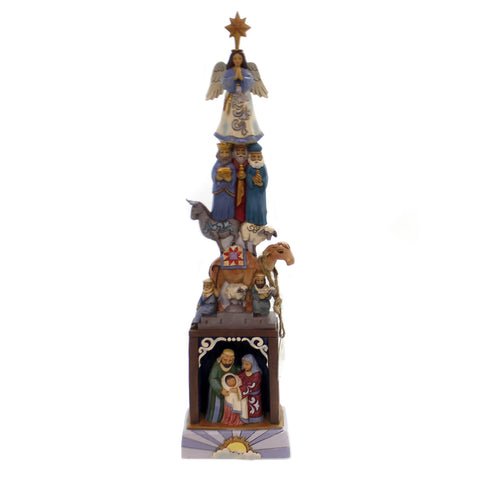 Jim Shore LIGHTED STACKED NATIVITY Polyresin Holy Family Angel 4060309 39217