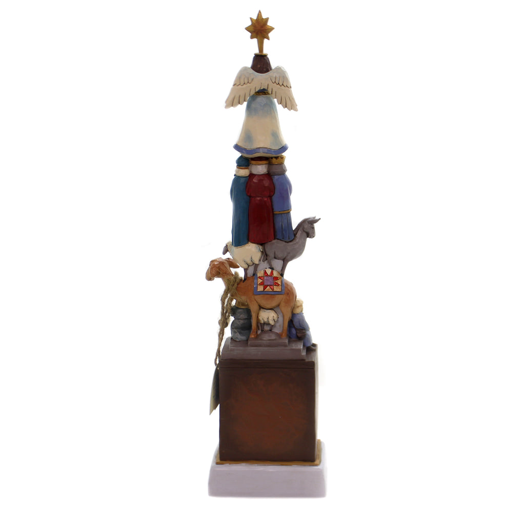Jim Shore LIGHTED STACKED NATIVITY Polyresin Holy Family Angel 4060309