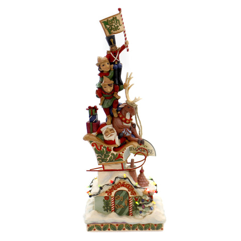 Jim Shore HEAPED WITH HOLIDAY CHEER Polyresin Lighted Stacked 4060310 39218