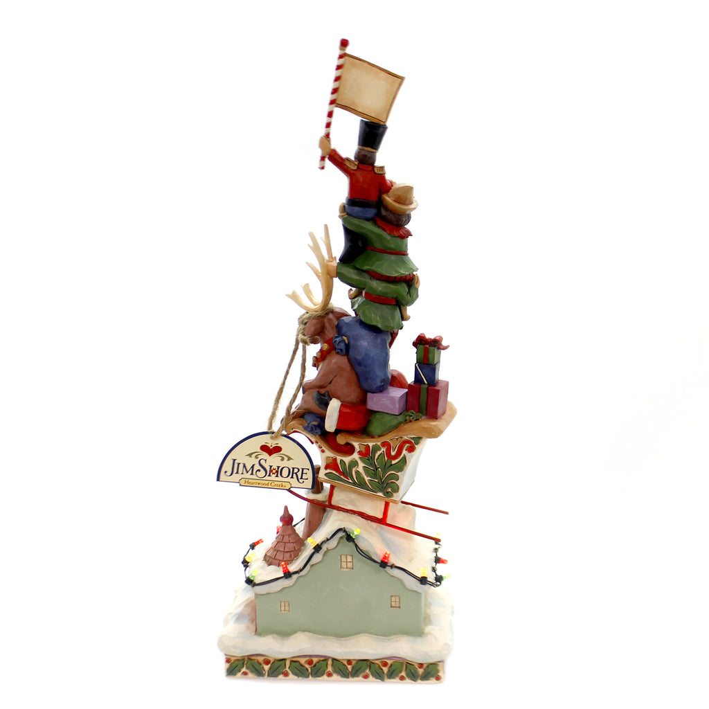 Jim Shore HEAPED WITH HOLIDAY CHEER Polyresin Lighted Stacked 4060310