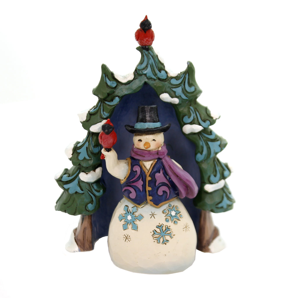 Jim Shore SNOWMAN AND TREE MINI SET/2 Polyresin Cardinal 4060313