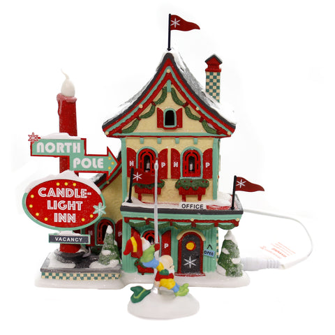 Department 56 House NORTH POLE WELCOMING CHRISTMAS Candle Light Inn 6002292 39232