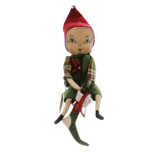 Joe Spencer EZRA SANTA'S HELPER Fabric Christmas Stocking Boy Fgs73231