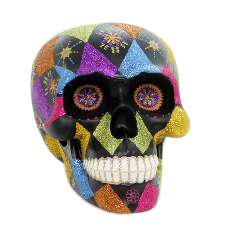 Shiny Brite DAY  OF THE DEAD SKULL Polyresin Halloween 4027557 39283