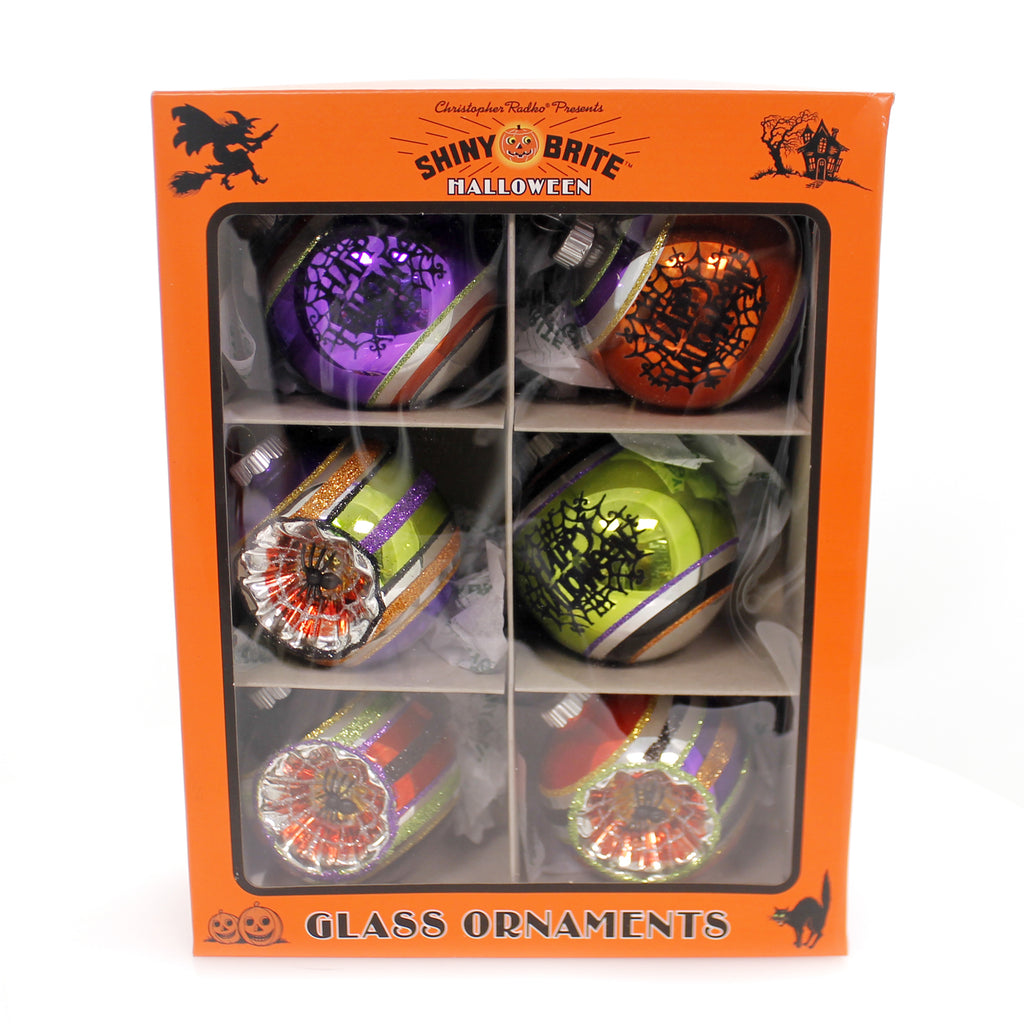 Shiny Brite HALLOWEEN DEC ROUNDS REFLECTOR Glass Spiders Spooky 4027670