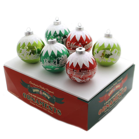 Shiny Brite HS SIGNATURE FLOCKED 6C Glass Jingle Bells 4027568 39288