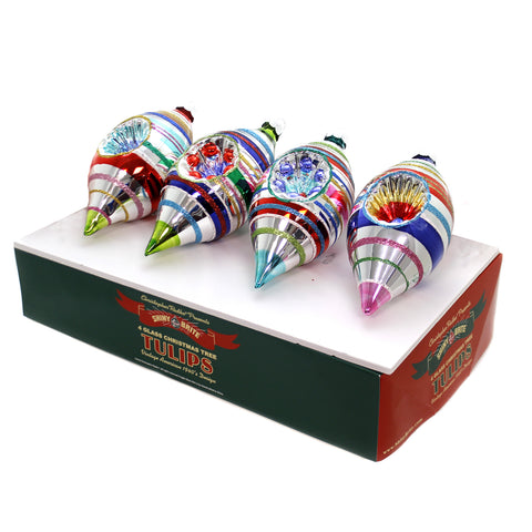 Shiny Brite CC TULIPS WITH REFLECTORS Glass Ornaments 4027619 39298