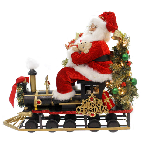 Christmas MERRY CHRISTMAS SANTA TRAIN Fabric Choo Choo Teddy Bear Sc45 39299