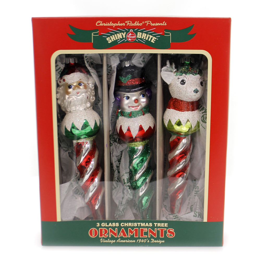 Shiny Brite HS FIGURE ICICLES Glass Holiday Splendor Ornaments 4027592