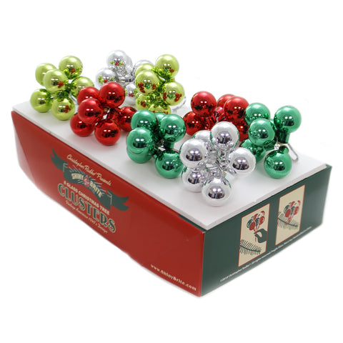 Shiny Brite HS CLUSTERS ORNAMENTS Glass Holiday Splendor St/8 Christmas 4027580 39321