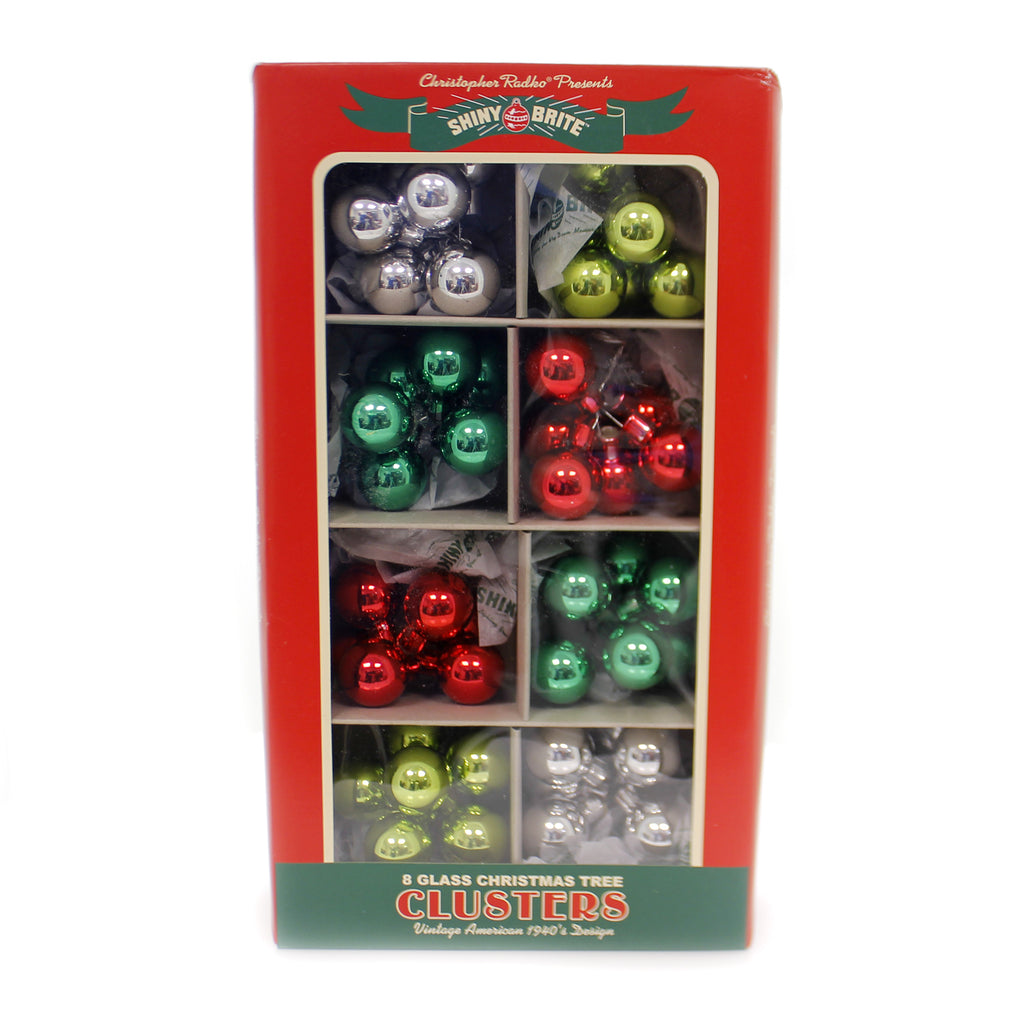 Shiny Brite HS CLUSTERS ORNAMENTS Glass Holiday Splendor St/8 Christmas 4027580