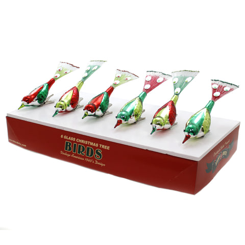 Shiny Brite HS BIRD CLIPS Glass Holiday Splendor St/6 Ornaments 4027581 39323