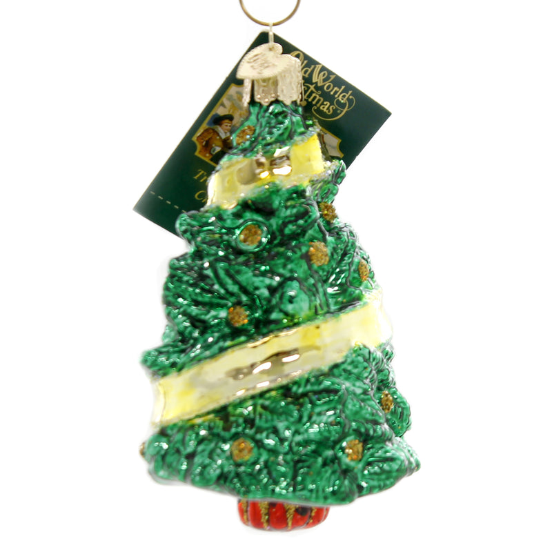 Old World Christmas SUPPORT OUR TROOPS Glass Yellow Ribbon 48038