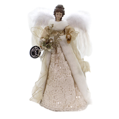 Christmas ANGEL TREE TOPPER Fabric Wings Gold Feather 6002514 39388