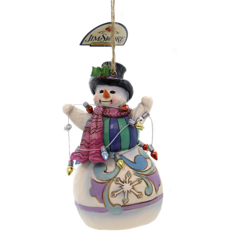 Jim Shore SNOWMAN WRAPPED IN LIGHTS Polyresin Christmas Ornament 4055125