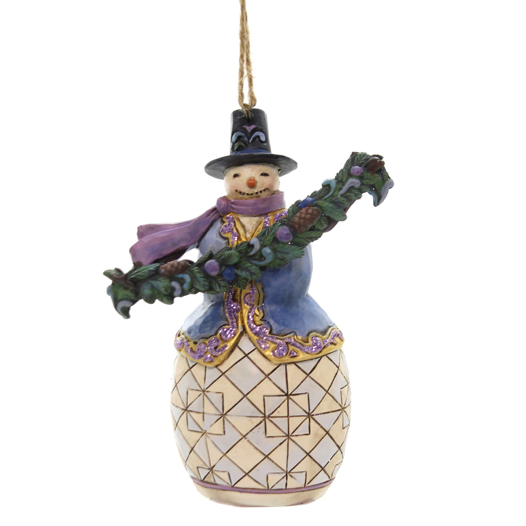 Jim Shore SNOWMAN WITH EVERGREEN BOUGH Polyresin Christmas Ornament 6002735