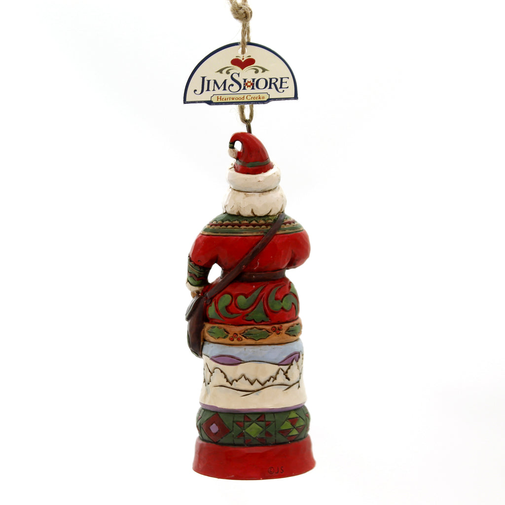 Jim Shore SANTA WITH SATCHEL AND SCENE Polyresin Christmas Ornament 6002738