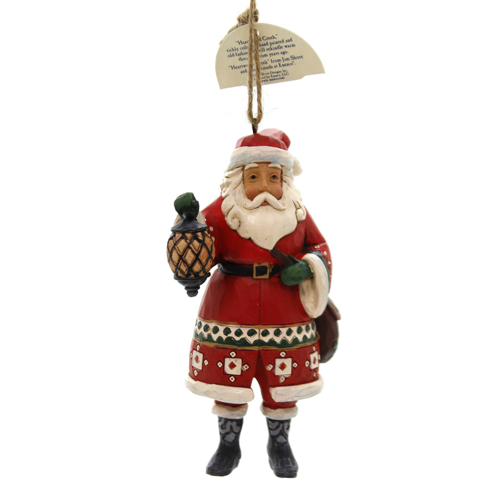 Jim Shore SANTA HOLDING LANTERN Polyresin Christmas Ornament 6002737