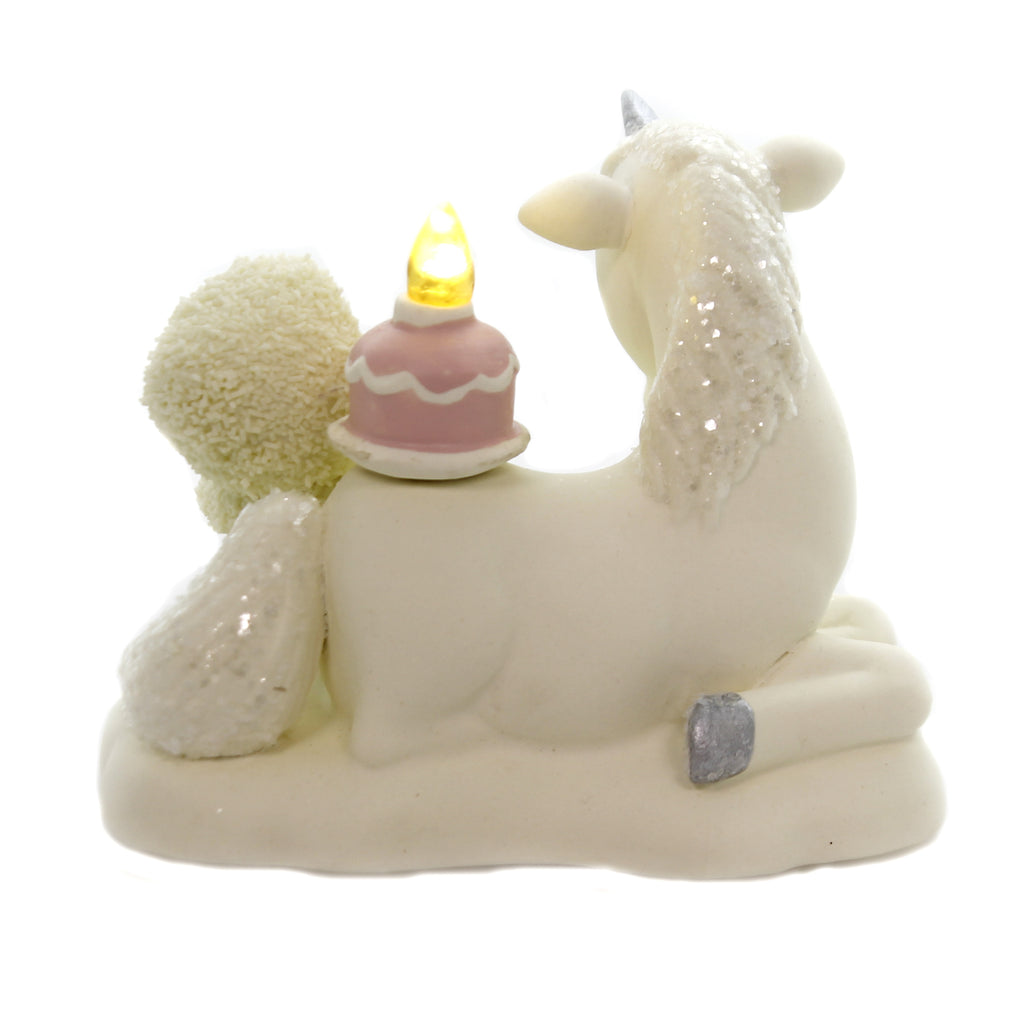 Dept 56 Snowbabies HAPPY AS A UNICORN EATING CAKE Candle Lights Birthday 6002856