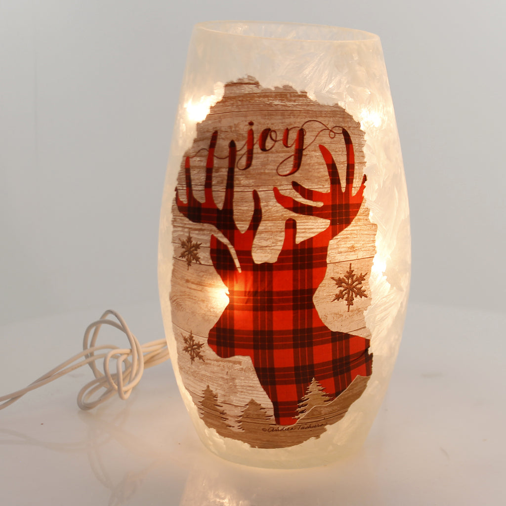 Stony Creek PLAID LIGHTED GLASS VASE Glass Snowflakes Twp8205 Buck