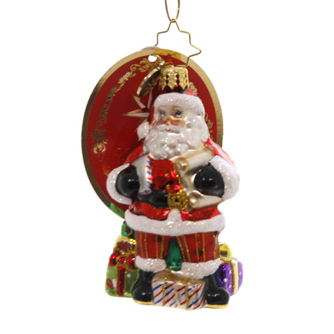 Christopher Radko CHECKING IT TWICE LITTLE GEM Glass Santa Gifts 1019170 39510